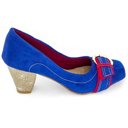 Scarpin Azul com Vermelho