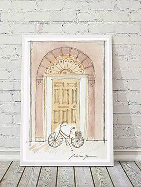 Ilustração Porta Antiga - amarela