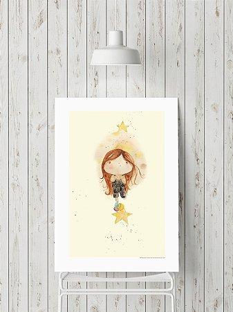 Poster Menina sobre Estrela