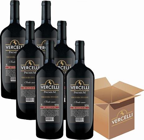 Vinho de Mesa - Vercelli Tinto Suave Bordô 6x1L
