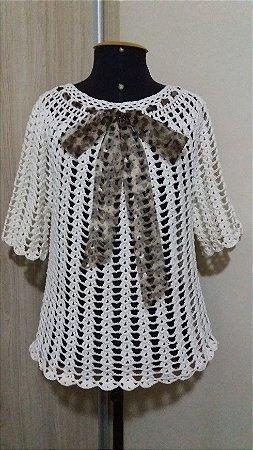 Blusa Crochê Laço (Animal Print)