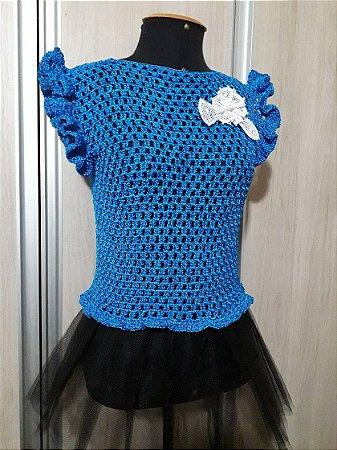 Blusa Crochê Encanto Azul