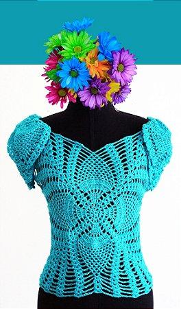 Blusa com Mangas Abacaxi P (cor azul claro)
