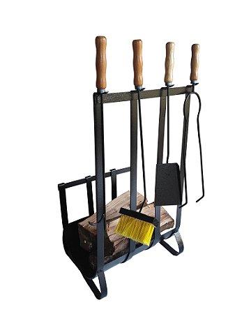Porta lenhas com kit de limpeza cabo madeira 578 Metávila