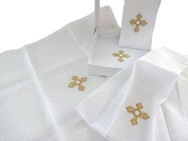 Alfaias Liturgicas de Altar com bordado de cruz - 4 peças