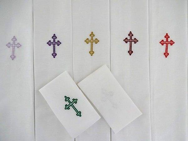 Sanguíneo litúrgico para altar igreja catolica  com bordado de cruz