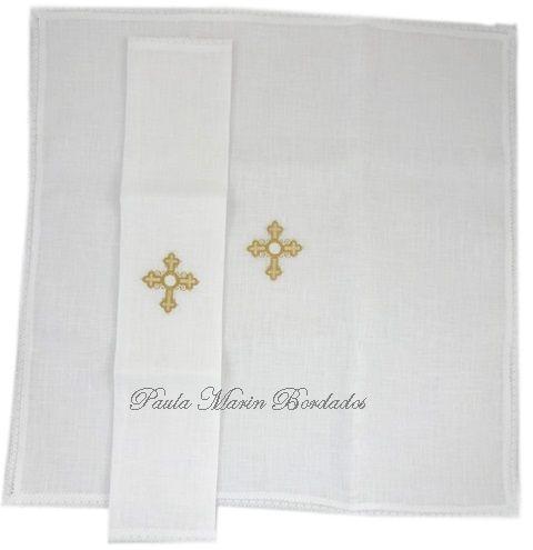 Corporal liturgico igreja catolica com bordado de cruz