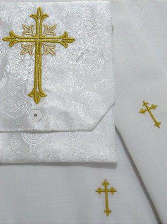 Kit Viático ou kit ministro para levar a Santa Eucaristia para enfermos - Cruz GD BCO