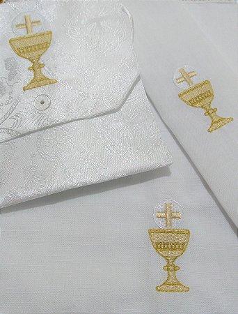 Kit Viático ou kit ministro para levar a Santa Eucaristia para enfermos - 3 PEÇAS - Cálice