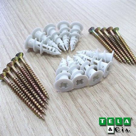 Buchas e Parafusos Dry Wall Auto Brocante 6mm - Pacote c/ 10