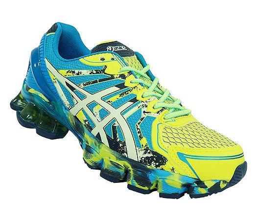 6f7c10e4288 Tênis Asics Gel Sendai 2 Azul e Amarelo Limão - acessórios da moda