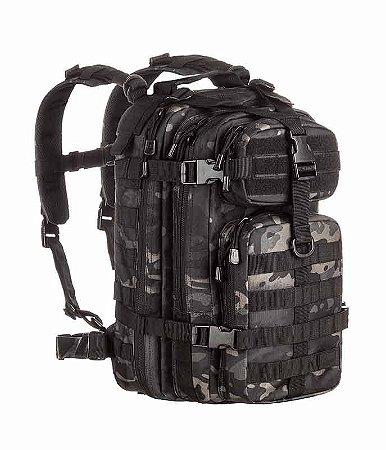 Mochila Militar Tática Assault Camuflado Multicam Black Invictus