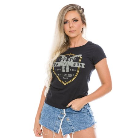 Camiseta Militar Baby Look Feminina Top Gun Team Six