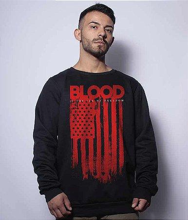 Casaco Básico de Moletom Blood is The Ink Of Freedom
