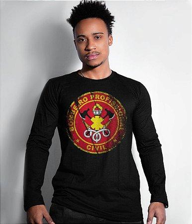 Camiseta Manga Longa Bombeiro Civil Militar