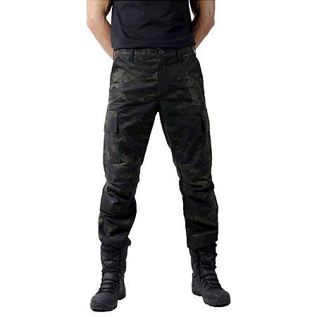 Calça Tática Combat Com Reforço Treme Terra Multicam Black