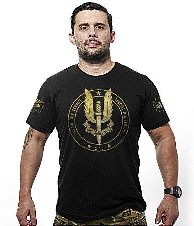 Camiseta Militar Britânica SAS Special Air Service Gold Line