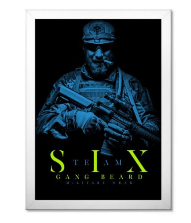 Poster Militar com Moldura Team Six Beard Gang