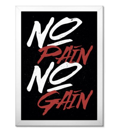 Poster Academia com Moldura No Pain No Gain Simple