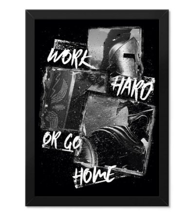 Poster Academia com Moldura Work Hard or Go Home II