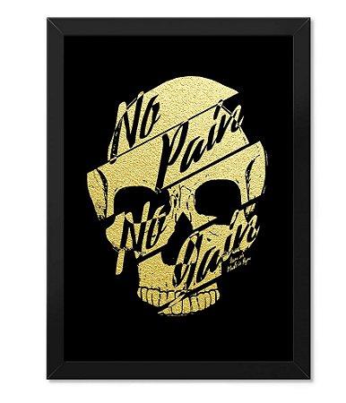 Poster Academia com Moldura No Pain no Gain Gold