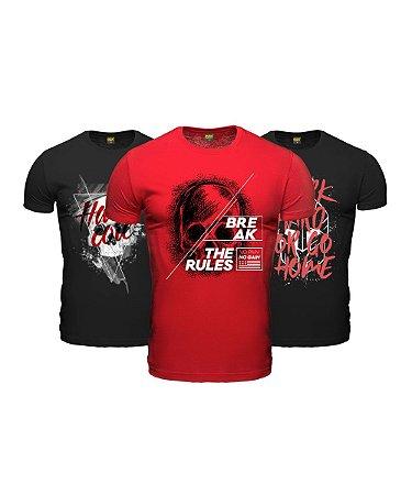 Kit 3 Camisetas Masculinas Academia Monster