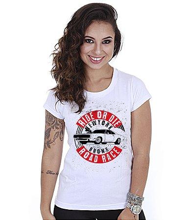 Camiseta Old Cars Baby Look Feminina Road Race