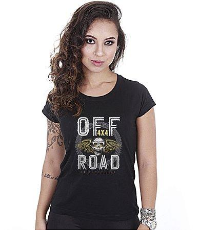 Camiseta Off Road Baby Look Feminina 4x4 Skull Fly