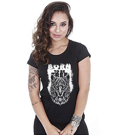 Camiseta Baby Look Feminina Wolf Born To Be Free