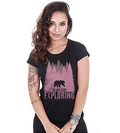 Camiseta Outdoor Baby Look Feminina Never Stop Exploring