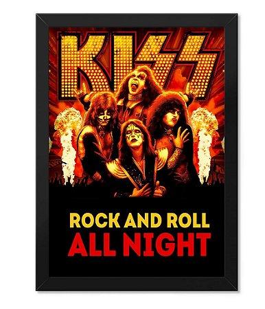 Poster com Moldura Kiss Rock and Roll