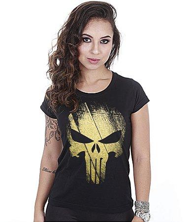 Camiseta Militar Baby Look Feminina Punisher Gold Line