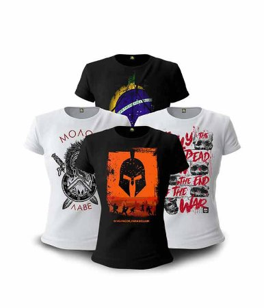 Kit Parabellum 04 Camisetas Baby Look Feminina