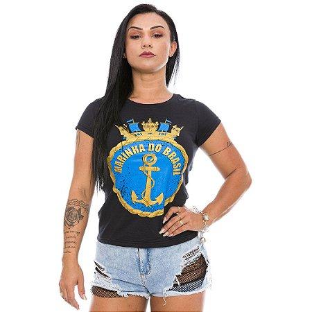 Camiseta Militar Baby Look Feminina Marinha Brasileira