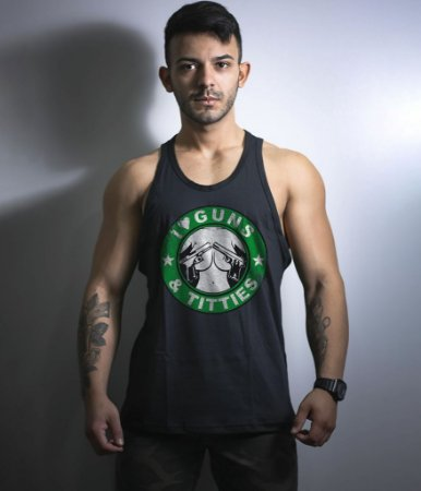 Camiseta Regata Militar I Love Guns & Titties