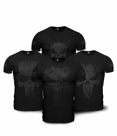 Kit  4 Camisetas Masculinas Militares Dark Line Justiceiro à paisana