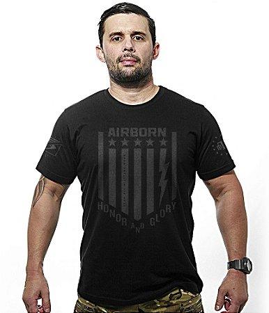 Camiseta Militar Dark Line Airborn Honor And Glory