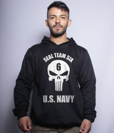 Casaco Militar Com Capuz Punisher Seal Team Six US Navy