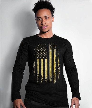 Camiseta Manga Longa EUA Defense Gold Line