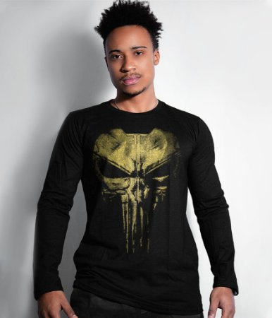 Camiseta Manga Longa Punisher Plate Gold Line