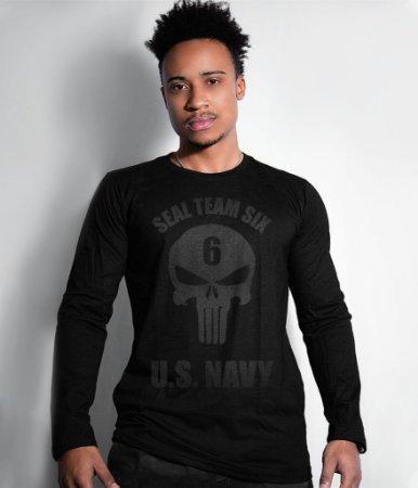 Camiseta Manga Longa Punisher Seal Team Six US Navy Dark Line