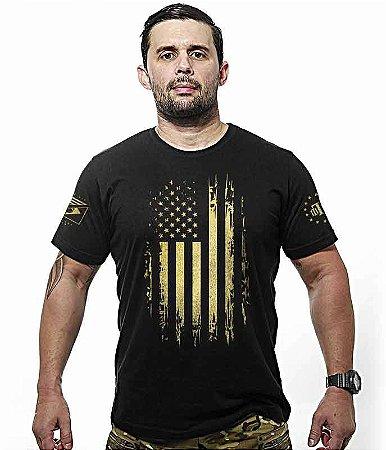 Camiseta EUA Especial Defense Military Gold Line