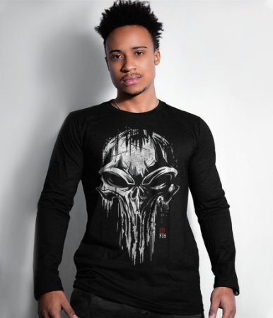 Camiseta Manga Longa GUFZ6 The Punisher Skull
