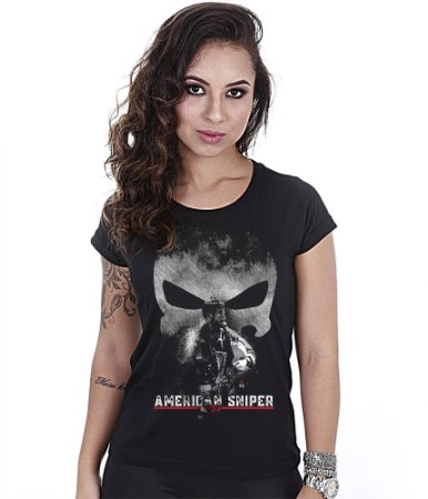 Camiseta Militar Baby Look Feminina GUFZ6 American Sniper