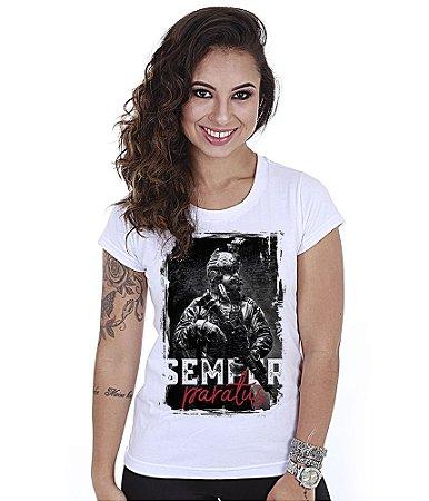 Camiseta Militar Baby Look Feminina GUFZ6 White Semper Paratus