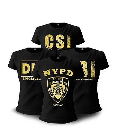 Kit 04 Camisetas Baby Look Feminina The Police