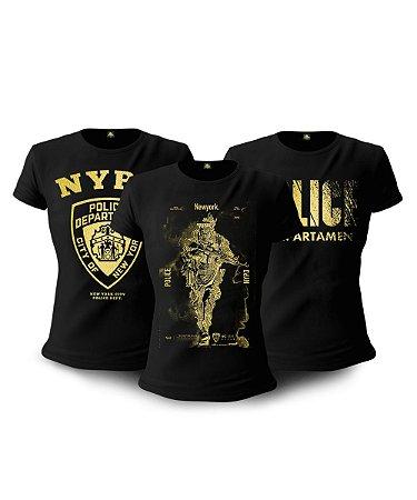 Kit 03 Camisetas Baby Look Feminina NYPD
