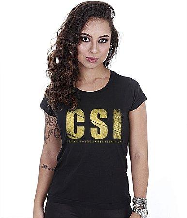 Camiseta Militar Baby Look Feminina CSI Gold Line