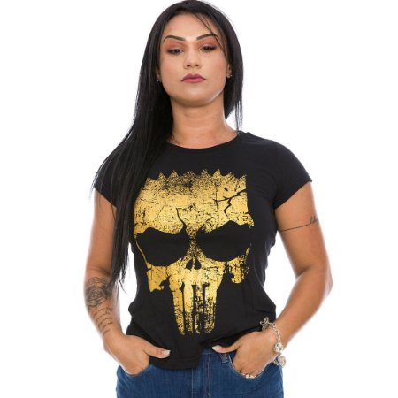 Camiseta Militar Baby Look Feminina Punisher Bart Gold Line