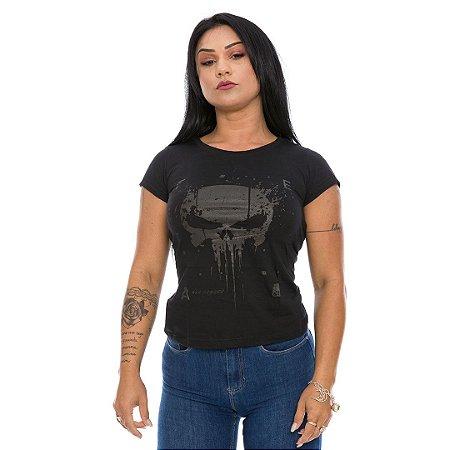 Camiseta Militar Baby Look Feminina New Punisher Dark Line